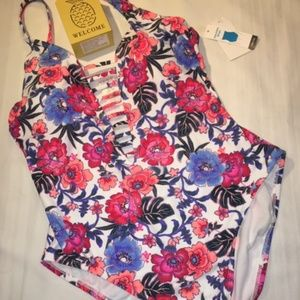 Other - Floral One Piece Swim Suit L 12/14 NWT